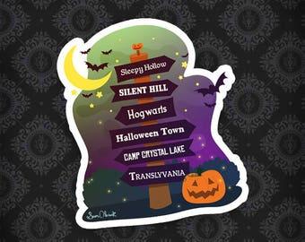 Halloween Signpost - Vinyl Sticker