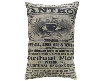 Eye Throw Pillow, Linen Lumbar Pillow, Modern