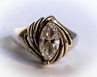 Vintage DQ  Diamonique  Ring     Sterling Silver   Size 7