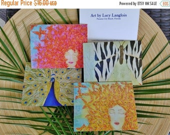 Clearance Art Note Cards, Butterflies and Peacocks, Set of 5 Blank Stationery Cards Printed with Original Paintings, All Occasion Card Set