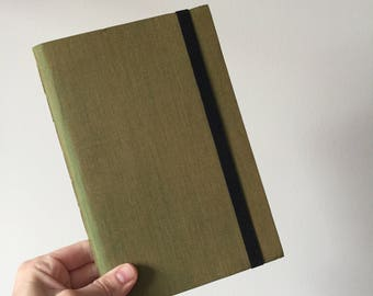 Scotch Journal in Green Gold Iridescent Book Cloth with Black Elastic Strap