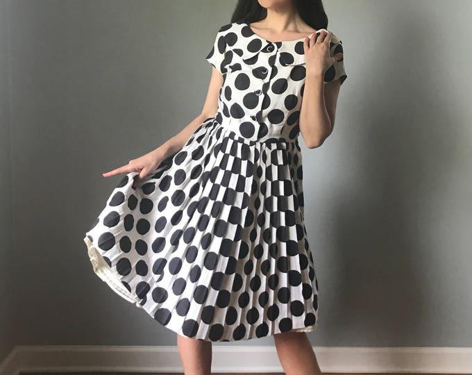 Vintage 50s New Look Polka Dot Cotton Dress