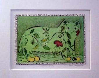 original whimsical cat linocut print