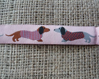 Handmade Dog Collar and Leash by Floral Pooch - 109 Pink Dachshund