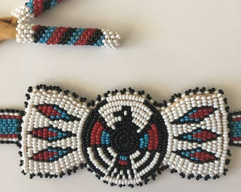Vintage Native American Beaded Belt - Thunderbird - Leather Backed - Tassels