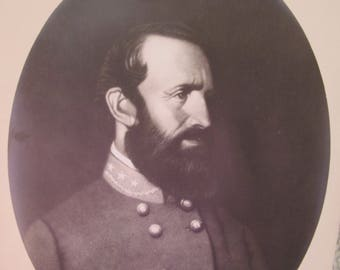 Stonewall Jackson Image in Antique Shabby-Chic Frame, Vintage to Antique in Age. Civil War Art Photos Image Print J.L.Giles Litho Copy Style