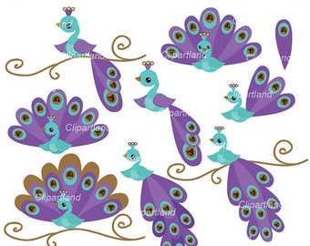 ON SALE INSTANT Download. Peacock clip art. Cpe_3. Personal and commercial use.
