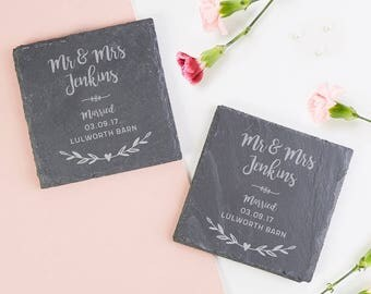 Personalised Wedding Gift Slate Coaster