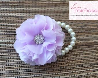 Wrist Corsage, Lilac Corsage, Lilac chiffon Corsage, Lavender Chiffon Corsage