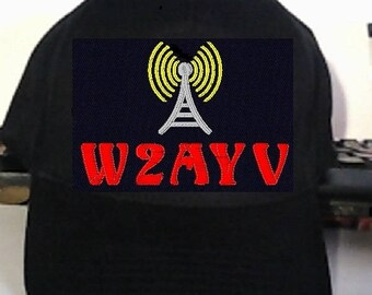 Hat HAM  RADIO H19 -  Custom EMBROIDERED in CrushProof Box with Tower and Callsign