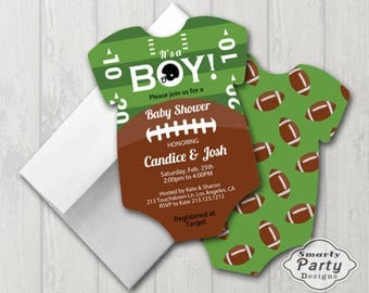 Football Baby Shower Invitations with White Envelopes - Professionally Printed Die Cut Out 5x7