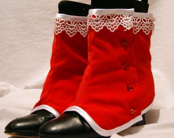 Xmas red velvet Spats Granny Boot Covers Goth Steampunk Victorian Burlesque Cirque OBSIDIAN