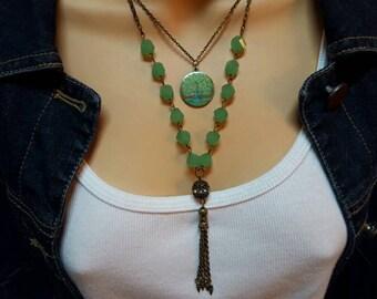 Boho Tree of Life Tassel charm necklace, tassel tree of Life necklace,Tassel charm necklace, Tree of Life Tassel charm necklace