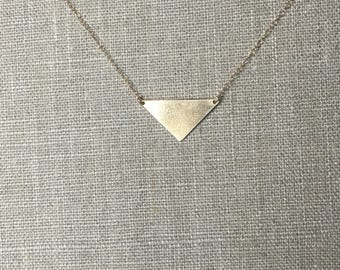 Simple Gold Triangle Necklace - Nugold - Brass