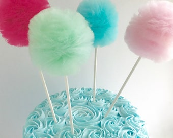 Cake Topper, Party Supplies, Tulle Pom Pom toppers, 5 pc Set