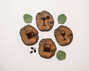 Drink West Coasters - Wood Coasters - Driftwood Engraved Coasters - Sustainable Gift - West Coasters - Wood - Eco Houseware