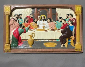 Vintage Chalkware Last Supper Wall Hanging Art Plaque
