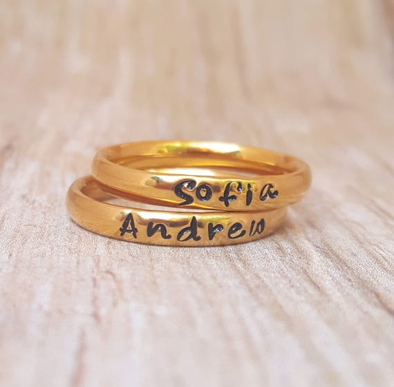 Stackable Ring Personalized Stacking Ring Gold Name Ring