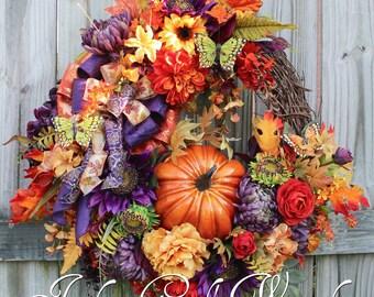 Elegant Purple Rust and Gold XL Tuscan Fall Floral Pumpkin Wreath, Sunflower Fall Wreath, Deluxe Autumn Floral Decor, Wisteria