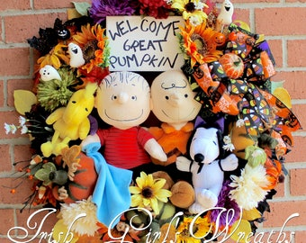 Great Pumpkin Halloween Wreath, Charlie Brown, Linus, Snoopy, Woodstock, Peanuts Wreath, Fall Floral Wreath, Peanuts Gang