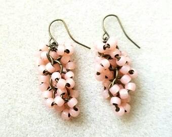 Peachy Pink Vintage Style Cluster Earrings