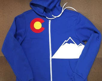 Colorado NEW moon MTNS wolf Flag custom Hoodie  3 layer sewn flag zippered sweatshirt jacket sweater