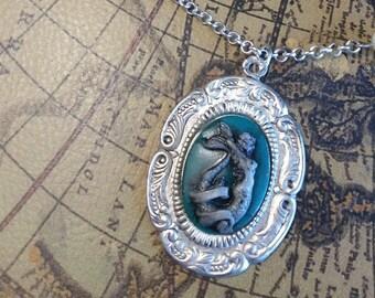 Silver sailor mermaid beaded necklace