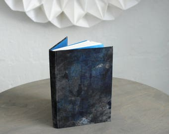 "Upcycled Hardcover Notebook ""Dark Blue Cinderella"" from Letterpress Ink Rags"