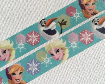 1 Roll Limited Edition Japanese Disney Washi Tape: Frozen Elsa, Anna, and Snowman