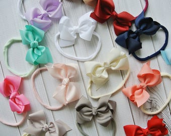 Small bow nylon headband, baby headbands, baby hair bows, newborn headband, nylon headbands, ribbon bow, baby shower gift