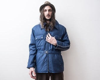 70s Puff Jacket WindBreaker Anorak Blue Rain Jacket Puffer Outerwear Spring Jacket The Penduline veste Doudoune Blazer Jacket