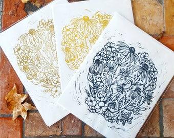Wildflowers -Hand Printed Linolem Print- Floral Art