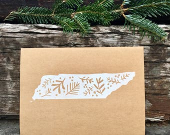 Tennessee handmade card- Christmas- block print- linoleum print- blank card - card set