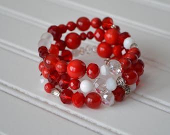 Red and White Memory Wire Bracelet
