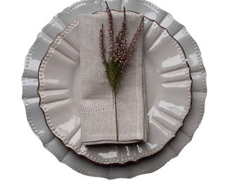 linen table napkins - linen napkins set - hemstitch napkin set - linen dinner napkins - natural napkins set - rustic linen napkins