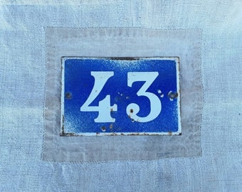 French Vintage, Enamel Sign, 43, Blue Enamel , Old Door Numbers, Enamelware, French Industrial , Wall Hanging, French Industrial, Home Decor