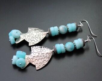 Bali sterling fish and blue Peruvian opal earrings long gemstone earrings beach boho earrings sterling silver summer fun statement earrings