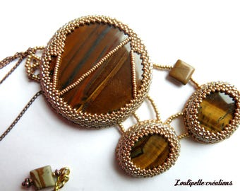 Embroidered necklace Tiger eye stone