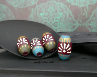 Handmade Floral Polymer Oval Bead Set - Green Teal Plum Bronze Ivory - Bohemian Flower Bead - 16x8mm - Pkg. 4