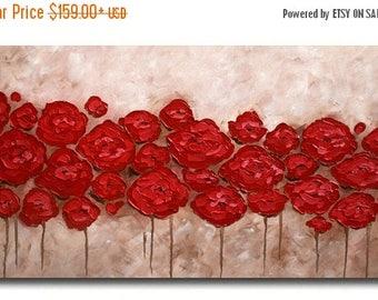 SALE Original  Modern Red  Beige Brown  Flowers  Heavy  Impasto Palette Knife    Painting.