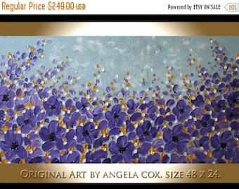 SALE Original  Modern  Purple Yellow  Flowers Impasto Acrylic Palette Knife Floral Landscape  Painting.  Size 48 x 24..