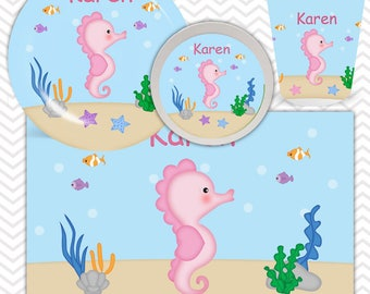 Seahorse Plate, Bowl, Cup, Placemat - Personalized Seahorse Dinnerware for Kids - Custom Tableware