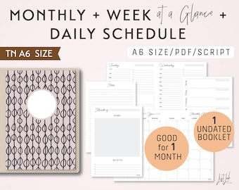A6 Monthly-Weekly-Daily Schedule TN Printable Booklet Insert