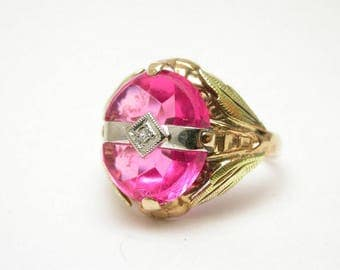 Vintage Pink Ring - 10K Yellow, Rose and White Gold Diamond and Pink Synthetic Sapphire Ring - Size 3.75 - Tricolor Gold - Pinky # 592
