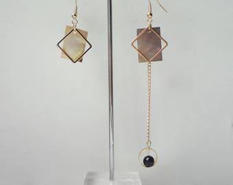 Shell Regalite Asymmetric Earrings Restoring Ancient Ways, Stackable Earrings, Charm Earrings 0478