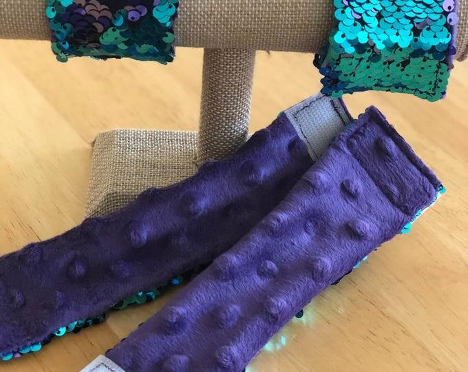 Minky Back Sequin Mermaid Bracelet, Sensory Tool, Teal and Purple Double sided sequin, School Spirit Accessory, Calming bracelet