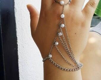 Hand Glove Bracelet Sahmeran Bracelet Slave Bracelet Chain Bracelet Ring Art Design Hand Bracelet, Bridal Cuff Bracelet