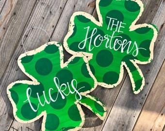 St  Patrick's Day Clover door hanger