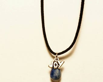 Blue Joy Dew Drop Necklace, Ceramic Pendant, Bridal Party Jewelry, Bridesmaid Gift, Flower Girl Necklace