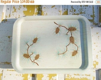 ON SALE Vintage Set of Four Tin Serving Trays Pine Cone Faux Wood, Green, Turquoise,Brown Gold, T V Trays, Cottage Chic, Shabby Chic, Rustic